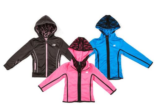 New Balance Little Girls Fleece Lined Zip Up Track Jacket