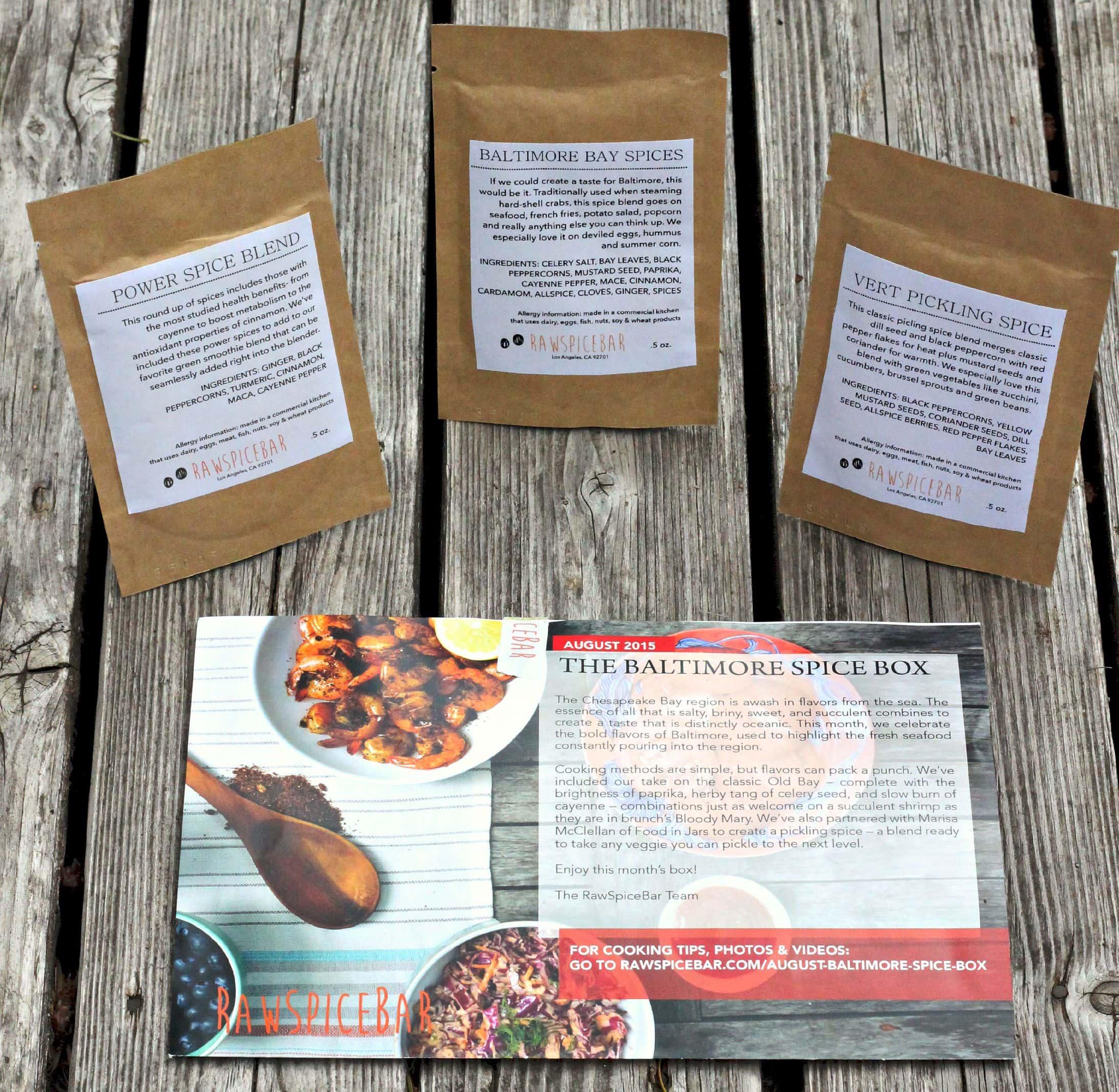 RawSpiceBar Spice Blend Packets and Recipe Info