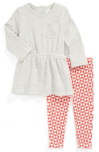Stem Baby Organic Cotton Speckled Dress & Leggings