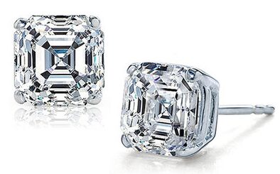 Sterling Silver CZ Asscher Cut Stud Earrings