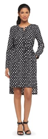 Women's Belted Printed Crepe Shirt Dress Merona