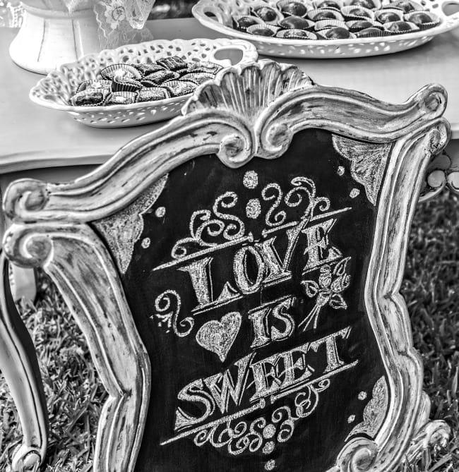 DIY wedding Love is sweet hand written sign