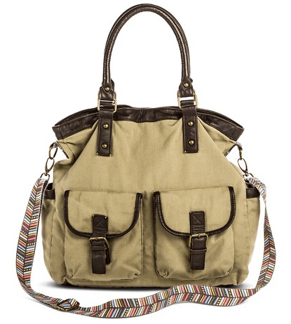 Women's Fabric Crossbody Handbag with Contrast Trim and Multicolor Strap - Green