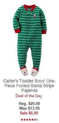 Carter's Toddler Boys' One-Piece Footed Santa Stripe Pajamas