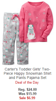 Carter's Toddler Girls' Two-Piece Happy Snowman Shirt and Pants Pajama Set