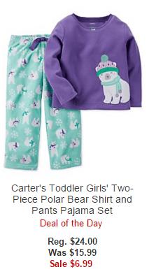 Carter's Toddler Girls' Two-Piece Polar Bear Shirt and Pants Pajama Set