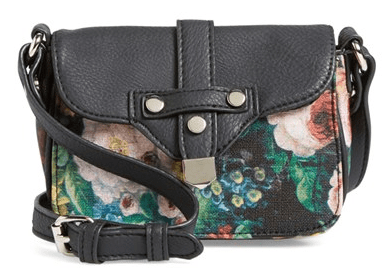 Dolce Girl Floral Print Faux Leather Crossbody Bag