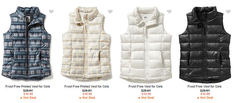 Old Navy Vests – $10 – $15 (Today Only)!