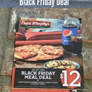 Papa Murphys has a special Black Friday deal for a large pepperoni pizza, cookie dough & 2 liter soda for $12!