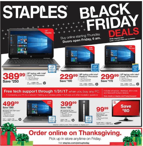 Staples Black Friday Deals For 2016! HP Laptop As Low As