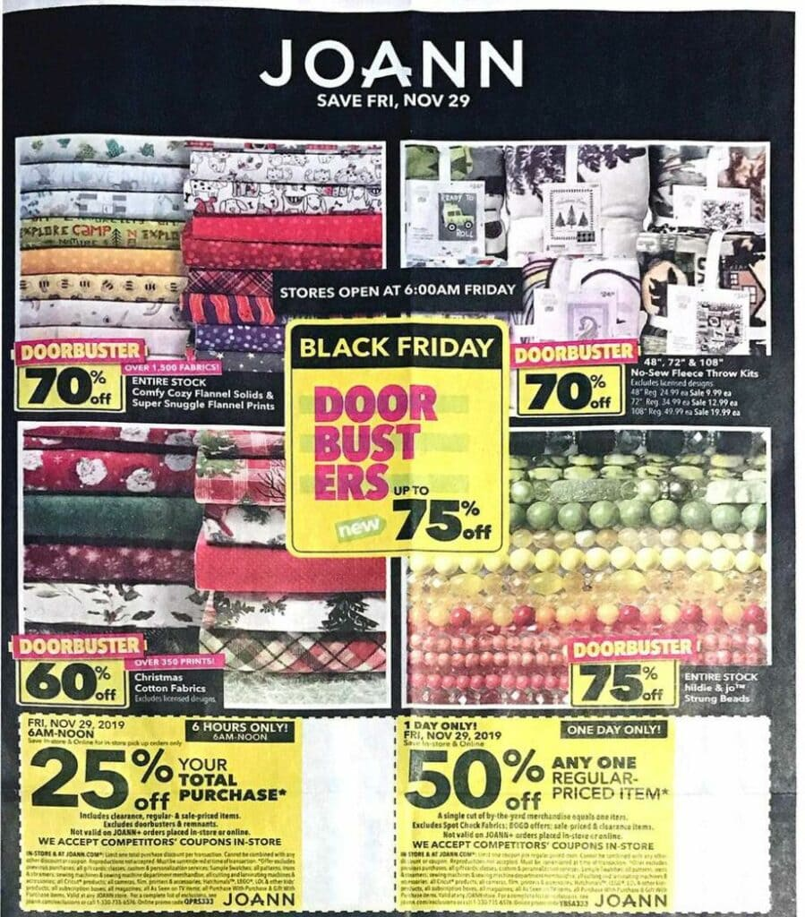 Joann Fabric Black Friday Deals for 2019! 20% off Total Purchase Coupon & more!