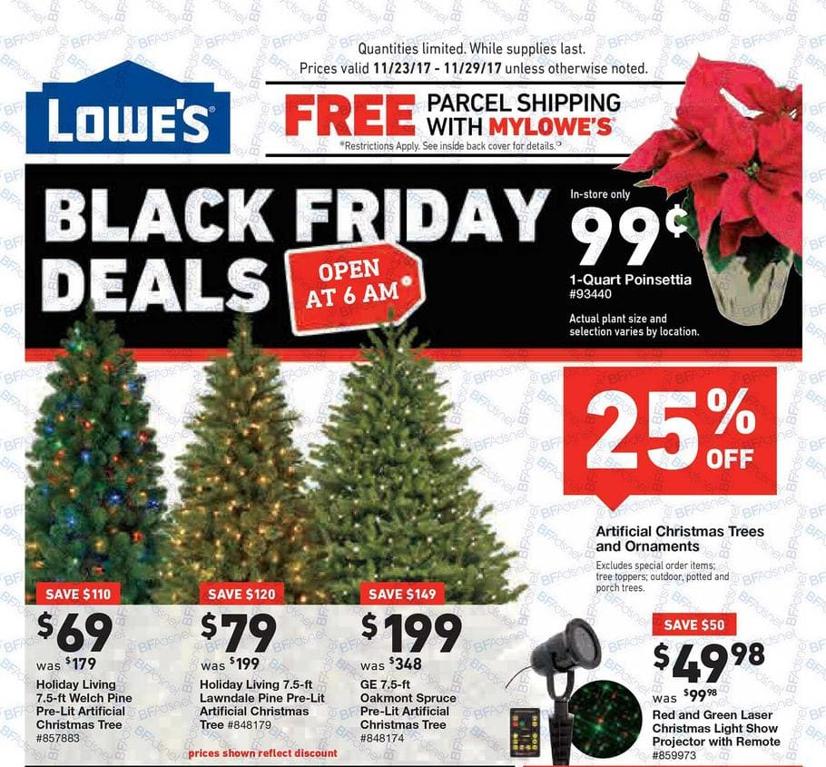 lowes black friday ad scan - Black Artificial Christmas Tree
