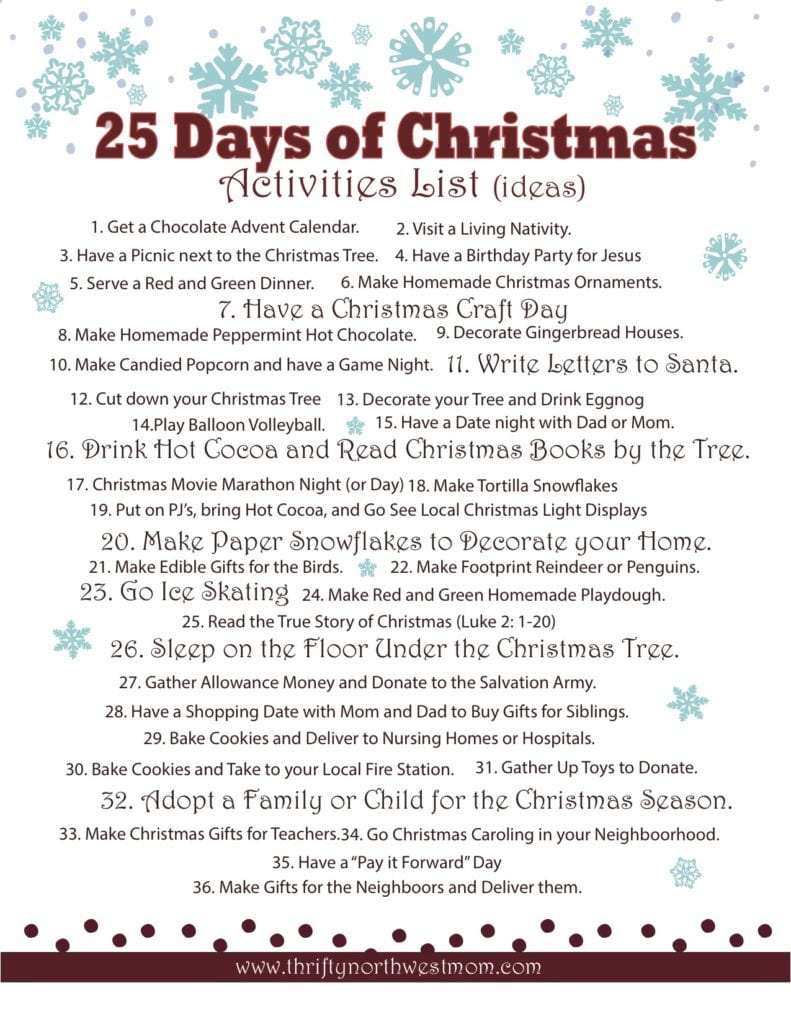 25 Days of Christmas Free Printable List of Activities