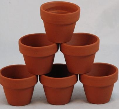 Mini clay pots