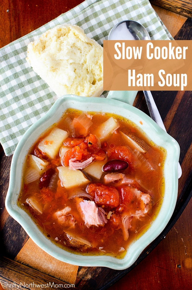 This slow cooker ham soup is a comforting soup for cold nights & makes for a great way to use leftover ham from holiday dinners.