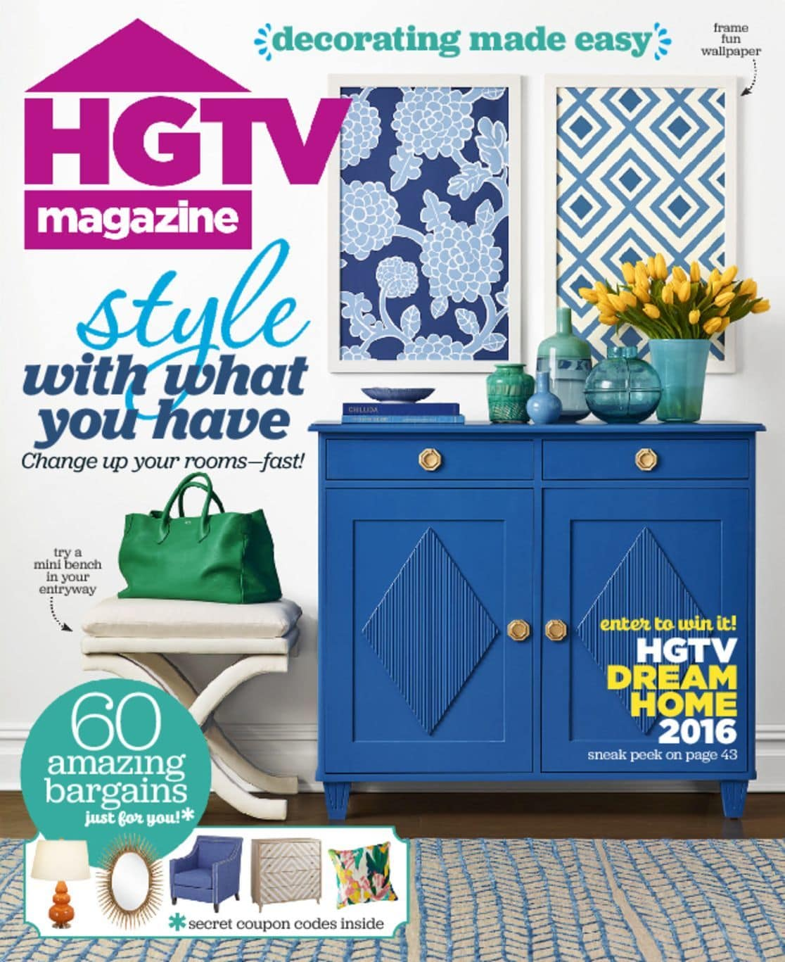 HGTV Magazine for only $12.95 per year! That is 67% Off Cover Price!