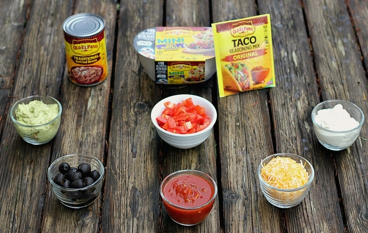 Ingredients for Mexican Layered Dip in Tortilla Bowls