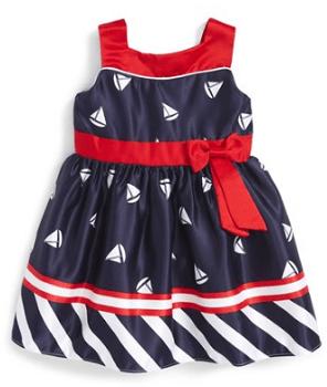 Sailboat Print Satin Dress