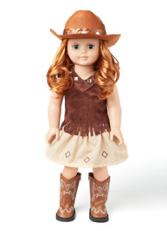 """Brown Cowgirl Outfit for 18"""" Doll"""