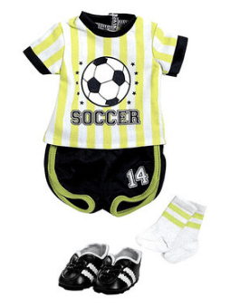 """Soccer Outfit for 18"""" Doll"""