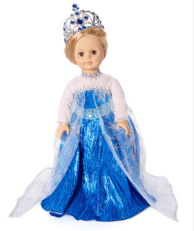 """Snowflake Queen Dress & Tiara for 18"""" Doll"""