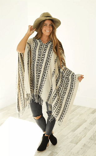 Trendy Poncho With Fringe Detail $13.99 + Free Shipping!