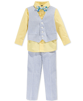 Nautica Baby Boys' 4-Piece Seersucker Vest, Pants, Shirt & Bowtie Set