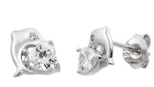 Sterling Silver Dolphin & CZ Heart Stud Earrings