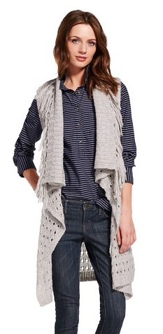 Women's Sweater Vest with Fringe Gray