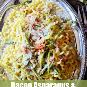 Try this Bacon Asparagus and Parmesan pasta as a lighter pasta dish, perfect for spring & summer. It's a great way to include fresh veggies into a delicious recipe that is sure to be a hit!