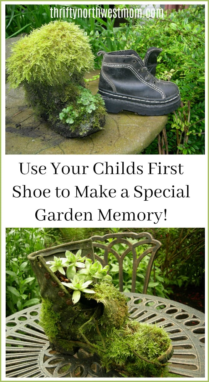 garden art with recycled shoes