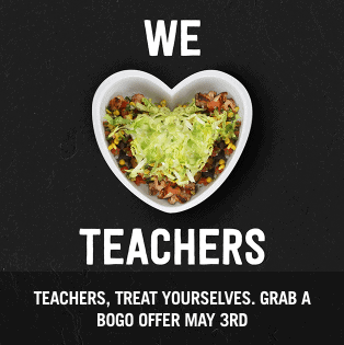 Chipotle Teacher Appreciation Deal – Buy One Get One Free Offer on May 8th (Tomorrow)