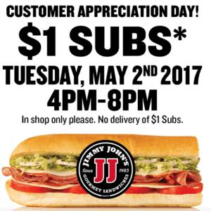 $1 subs at Jimmy Johns