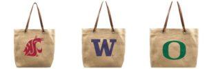 NCAA Burlap Tote Bags