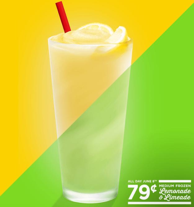 Sonic Frozen Lemonade or Limeade for $.79