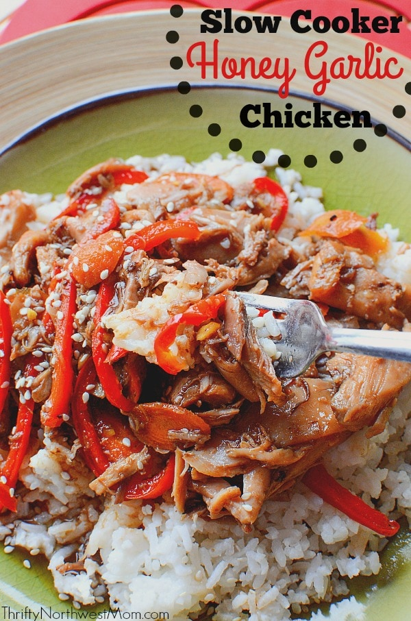 This Slow Cooker Honey Garlic Chicken with Ginger is sure to please at dinnertime.