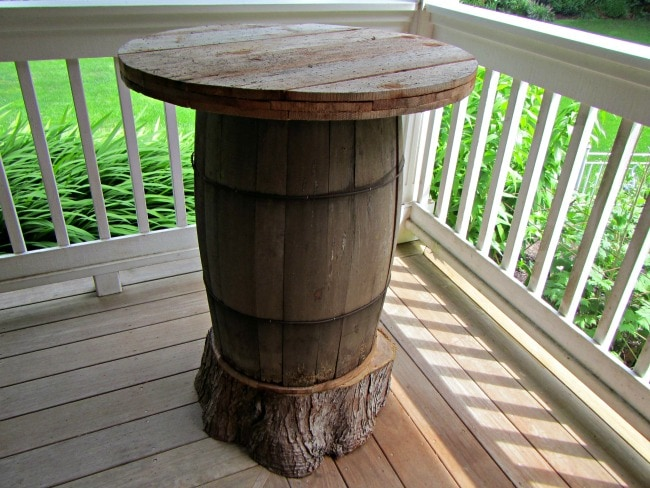 Buy Here Pay Here Lots >> DIY Bar Table Made From A Wine Barrel - Thrifty NW Mom