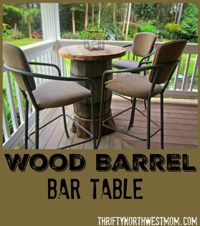 DIY Bar Table from a Wine Barrel