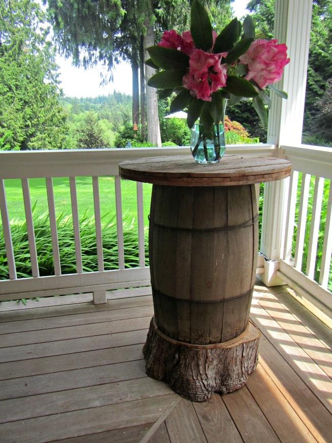 wooden barrel bar table