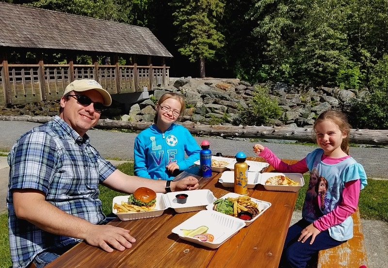 Picnic by the Fitzsimmons Creek in Whistler