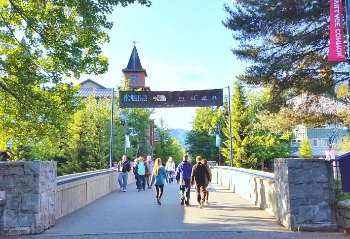 Walkways through Whistler BC making it a very pedestrian friendly village