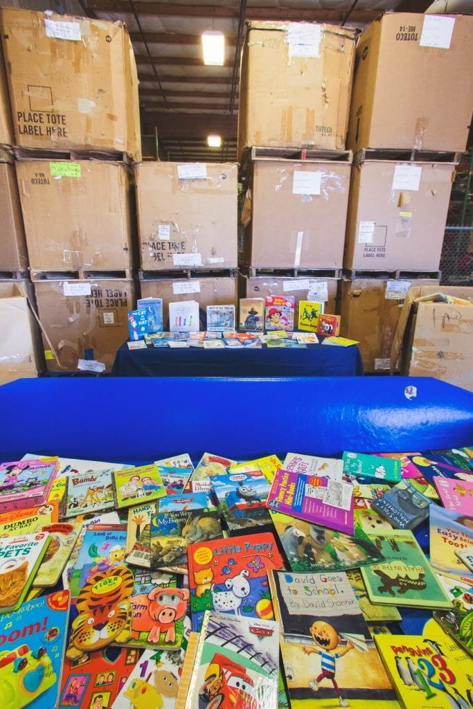 boxes and boxes of books for educators for free at Goodwill