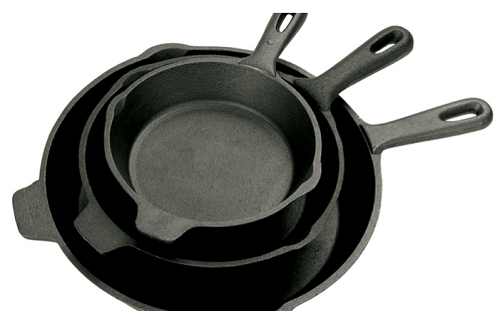 Three Bayou Classic Cast Iron Skillets