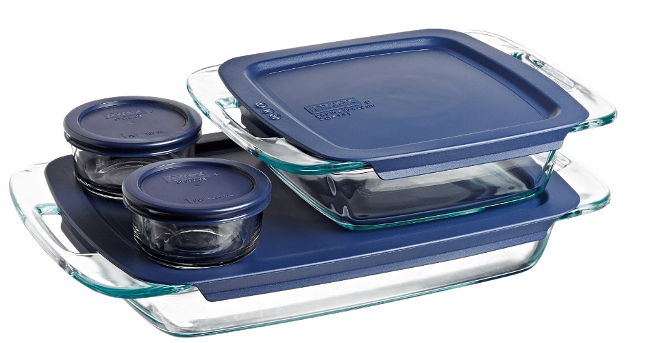 Pyrex Easy Grab 8 Piece Glass Bakeware & Food Storage Set
