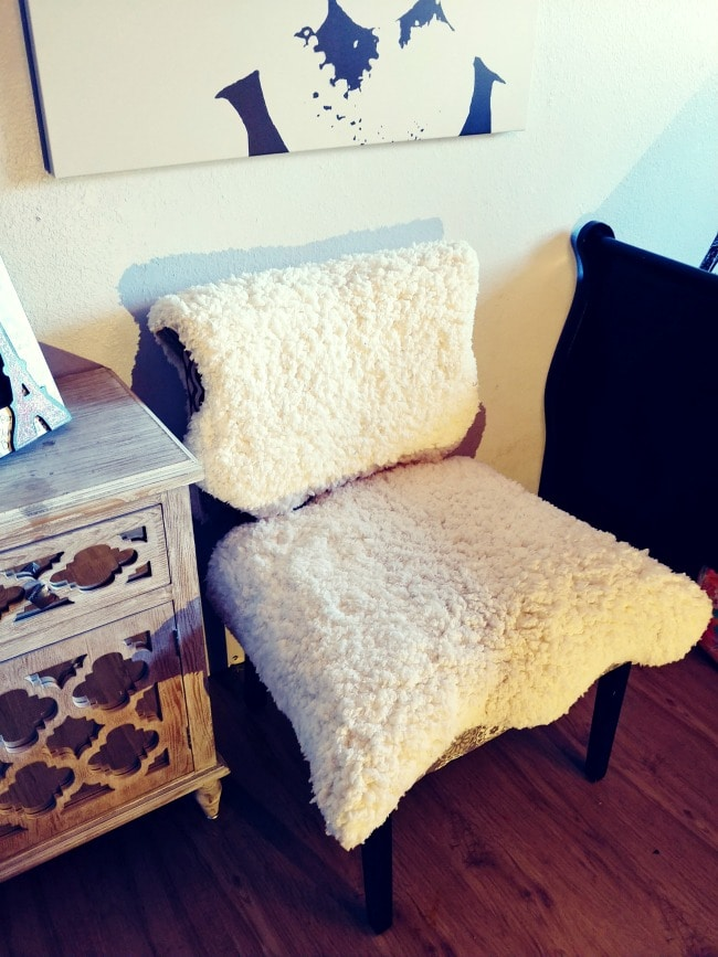 Chair Recovering Hack Using Faux Fur Rugs Thrifty Nw Mom