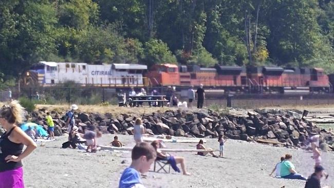 Trains at Edmonds Beach