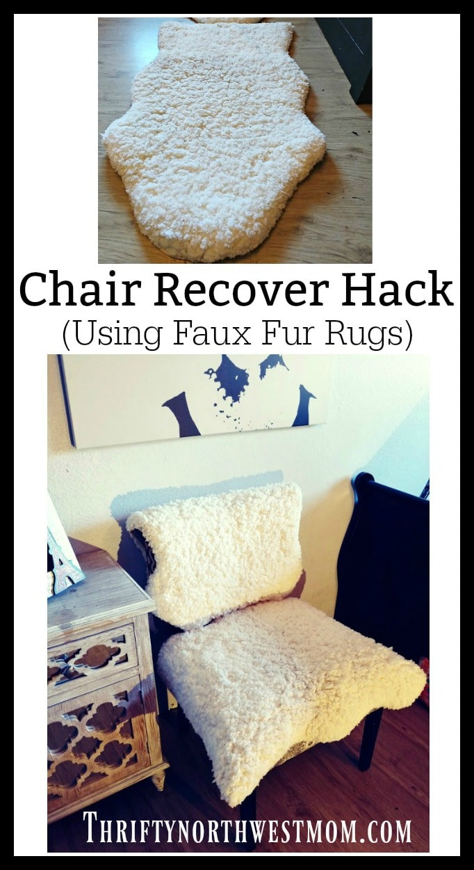 Use faux fur rugs for this DIY Hack to recover a chair for your home.
