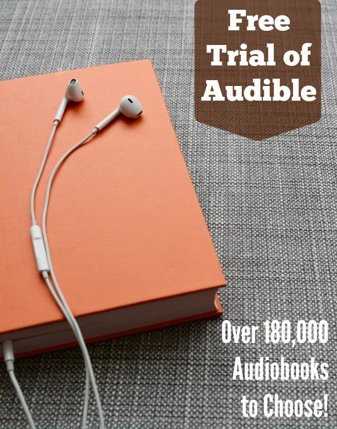 Audible Free Trial Membership with 2 free audiobooks and 180,000 audiobooks to check out.