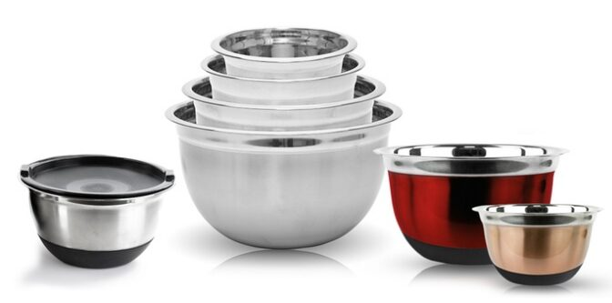 Colored Stainless Steel German Mixing Bowl Set (4-Piece) $11.99!