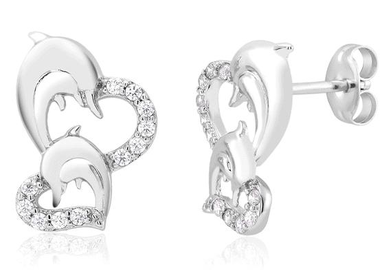 Cubic Zirconia Heart & Dolphin Stud Earrings $5.99 Plus FREE Shipping!